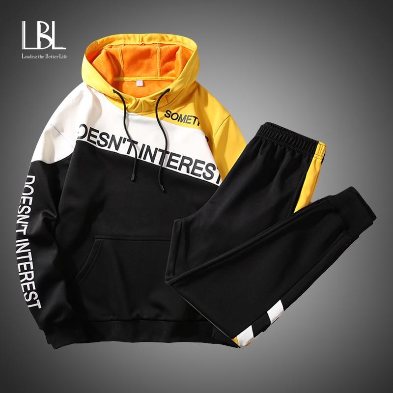 Fashion Patchwork Hoodies Casual Pullover Men 2020 Harajuku Streetwear Hip Hop Oversized Cotton Couple 2pcs Sweatshirt Outwear