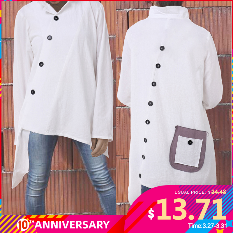 Celmia Womens Shirts Blouses 2020 Vintage Cotton Asymmetrical Tops Long Sleeve Buttons Pockets Casual Thin Blusas Feminina 5XL