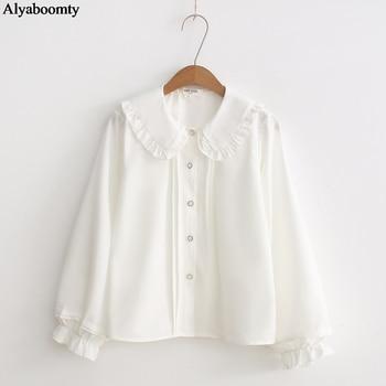 Japanese Spring Autumn Women Lolita Shirt Peter Pan Collar White Cute Kawaii Blouse Long Sleeve Elegant Sweet Ruffles Blusas 1