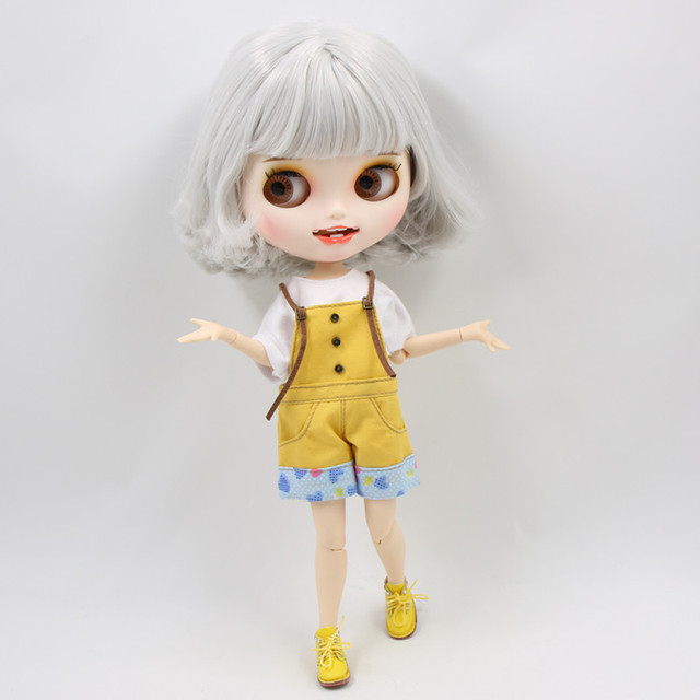 Blyth nude doll Carved lips Open mouth Matte customized face Grey hair 1/6 Joint body ICY bjd DIY toy girl gift