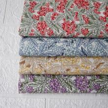 145x50cm floral lua popelina tecido de algodão puro que faz a primavera e verão roupa das crianças vestido pano