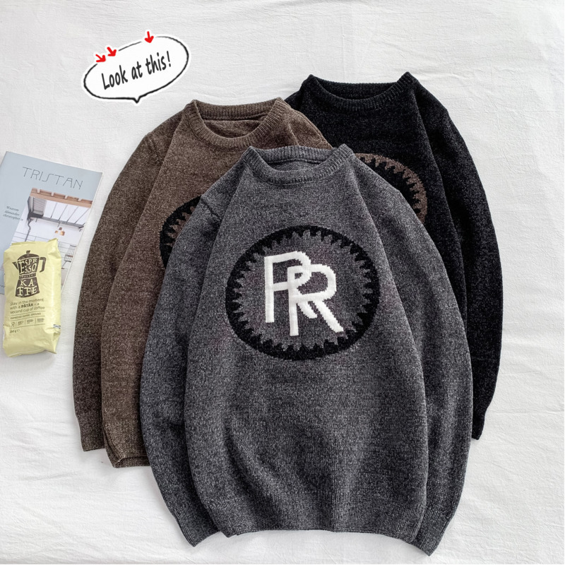 2019 UYUK Autumn/winter New Fashion Round Collar Ins Loose Embroidered Temperament Casual Sweater Man Clothes Hombre