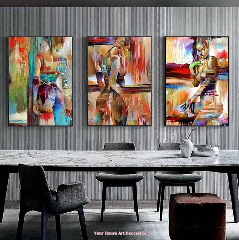 Nordic Canvas Painting Fashion Sex Figure Picture Wall Art Home Decor Poster Living Room Girl Bedroom Abstract Art Oil Painting Painting Calligraphy Aliexpress