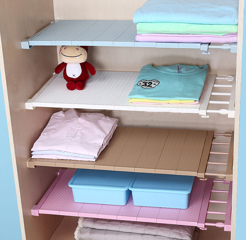 Fashion Adjustable Closet Organizer Storage Shelf Wall Mounted Kitchen Rack Space Saving Decorative Shelves Cabinet Holders