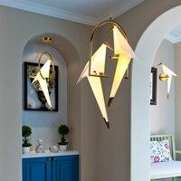 Guindaste de papel moderno lustre de metal para restaurante sala de estar sala de jantar quarto das crianças led design pássaro pingente lâmpada|Luzes de pendentes| |  -