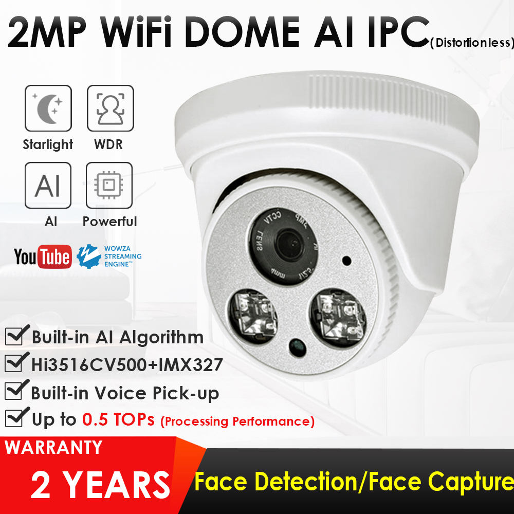 1080P 2.0MP HD IR Dome Face Detection Live Streaming Broadcasting IP Camera Push Video Stream To Youtube/Wowza By RTMP