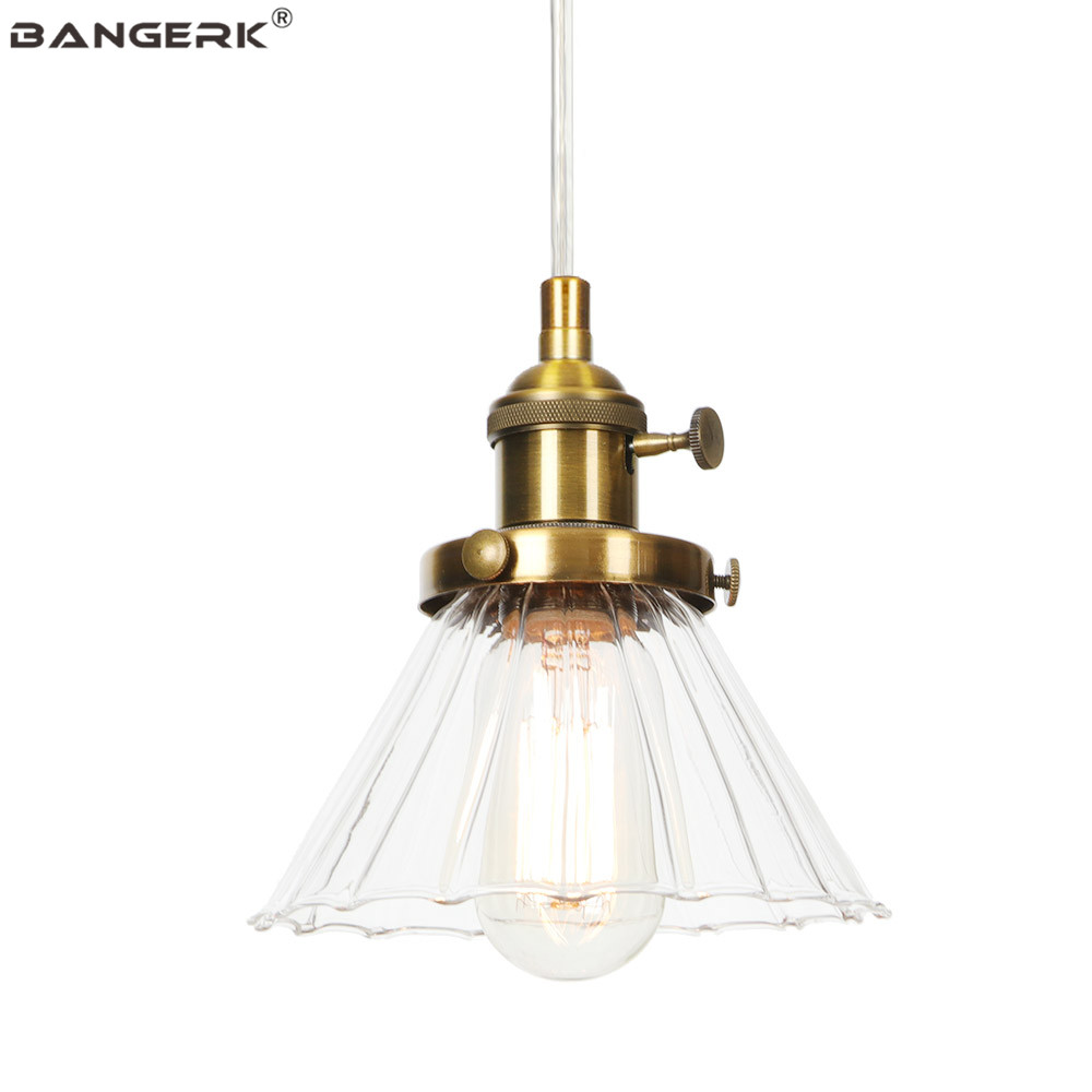Industrial Pendant Lamp Iron Glass Switch Antique Hanging Light LED E27 Edison Retro Loft Decor Dining Room Home Lighting
