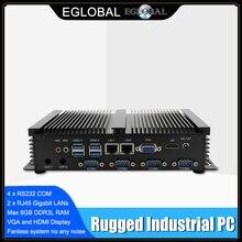 팬리스 미니 PC Windows XP/7/8/10 인텔 코어 i5 3317U 1007U 2 * Lans 4 * RS232 COM 산업용 PC 견고한 컴퓨터 300M WiFi HDMI + VGA