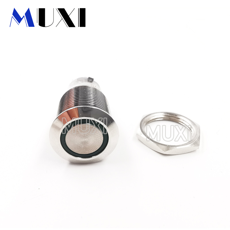 16mm Around Self-Locking Waterproof Metal Push Button Switch LED Light 3V 5V 6V 12V 24V 110V 220V RED BLUE GREEN YELLOW White