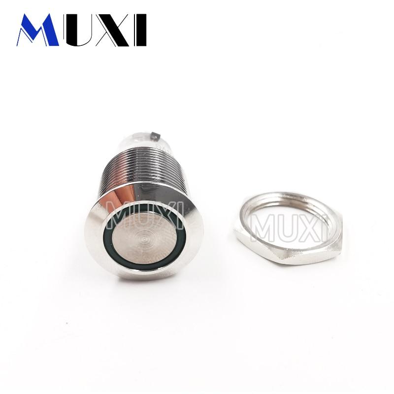 16mm Around Self-Locking Waterproof Metal Push Button Switch LED Light 3V 5V 6V 12V 24V 110V 220V RED BLUE GREEN YELLOW White