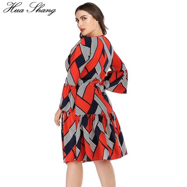 5XL Plus Size Casual Dress Women Long Sleeve Plaid Striped Print Patchwork Midi Dress Red Ladies Tunic Ruffles Beach Dresses 4