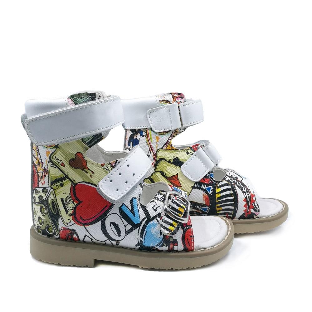 Sandales orthopédiques en cuir pour enfants à bout ouvert avec soutien de la voûte plantaire, belles chaussures d'été Graffiti pour garçons et filles en bas âge