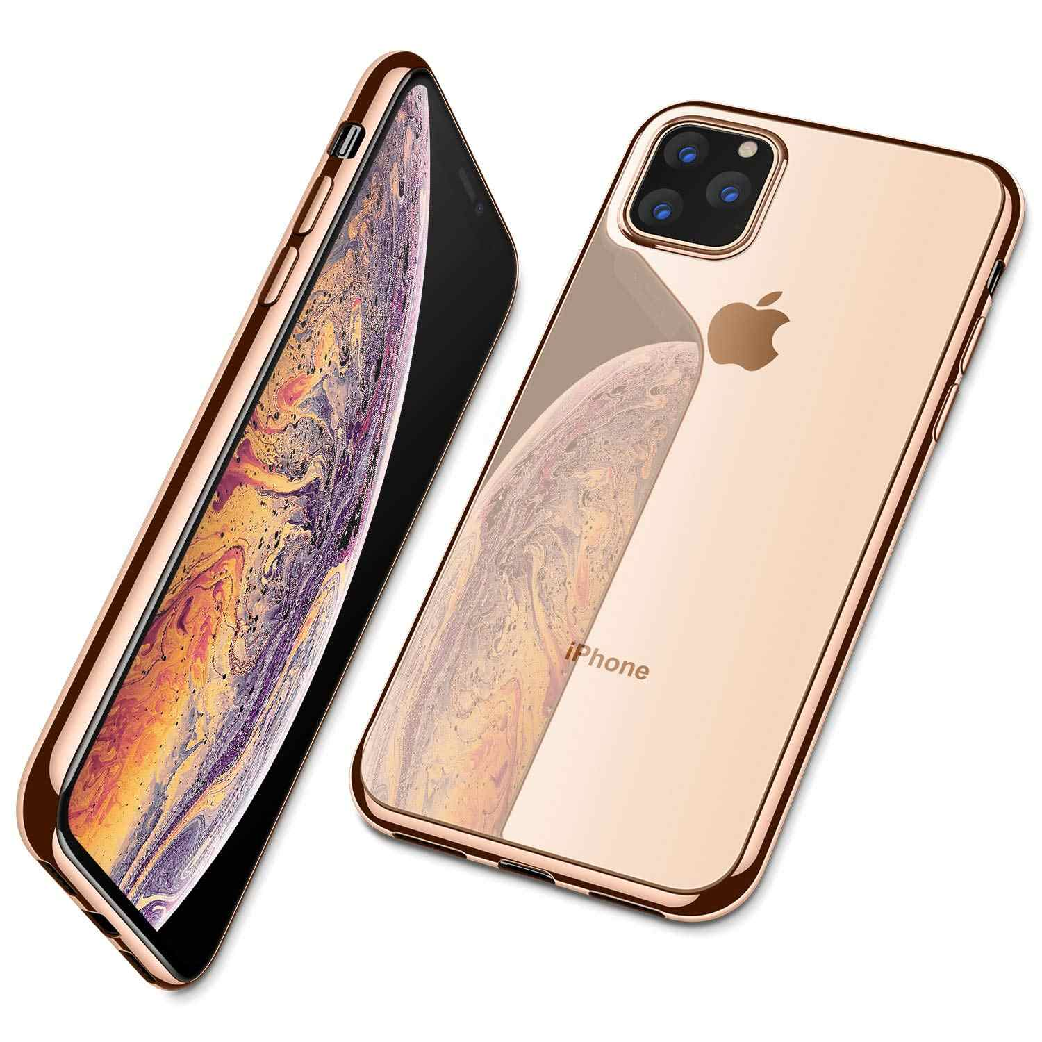 Pour iPhone 11 Pro Max 11 Pro étui, Ultra mince mince clair souple Premium Flexible Chrome pare-chocs Transparent