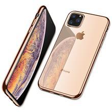 Voor Iphone 11 Pro Max 11 Pro Case, ultra Slim Thin Clear Soft Premium Flexibele Chrome Bumper Transparant Tpu Back Plate Cover