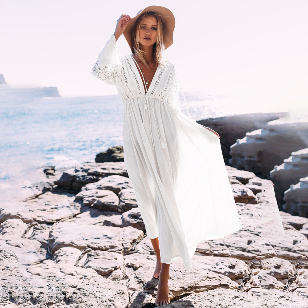 Beach Cover Up Women 2020 Beachwear Floral Lace Bikini Cover Long Dress Cardigan Swimwear Sexy Bathing Suit Cover Ups Body Suit