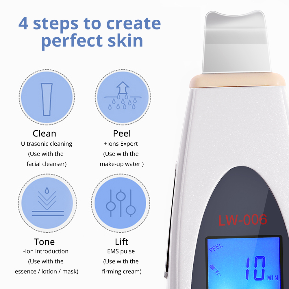 Image 2 - DARSONVAL LCD Face Scrubber Ultrasonic Face Cleansing Tool Skin Peeling Ultrasonic Facial Dermabrasion Acne Blackhead Remover-in Face Skin Care Tools from Beauty & Health