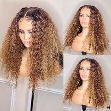 컬러 곱슬 인간의 머리 가발 옹 브르 하이라이트 13x4 레이스 프런트가 발 Pre 뽑은 180% 브라질 레미 가발 흑인 여성을위한 표백