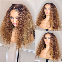 Colored Curly Human Hair Wig Ombre Highlight 13x4 Lace Front Wigs Pre Plucked 180% Brazilian Remy Wig for Black Women Bleached