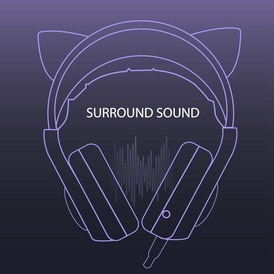 destacável gato orelha 3.5mm redução de ruído fone de ouvido