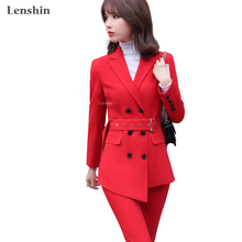 Pant Suits Business Women Blazer Work-Wear Office Lady Formal Lenshin High-Quality 2piece