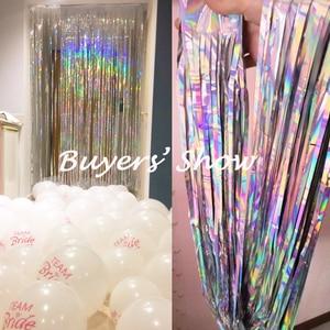 Image 2 - 2M Silver/Multi color Sequin Foil Curtain Rain Fringe Tassel Wedding Backdrop Birthday Party Decoration for Anniversary Decor