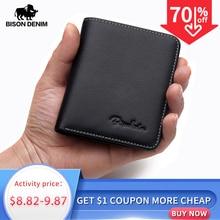 Bison denim carteiras masculinas, de couro genuíno, preto, porta cartão, fino, macio, mini bolsas n4429