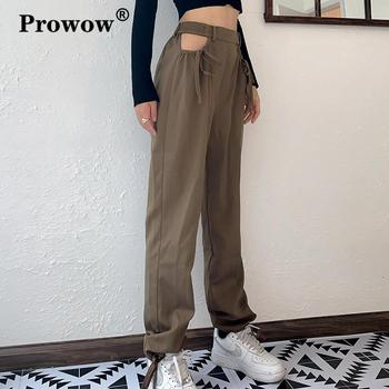 цена на Streetwear Straight High Waist Pants Women Summer Elastic Waist Hollow Out Drawstring Lace-up Loose Vogue Khaki Casual Trousers