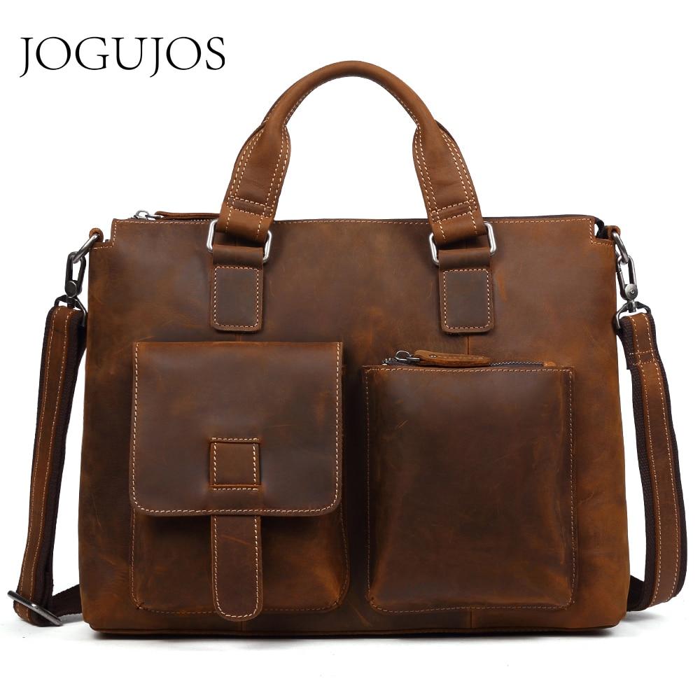 JOGUJOS Luxury Designer Men's Briefcases Genuine Leather Upgrade Crazy Horse Briefcase Male Shoulder Messenger Bag Travel Bag