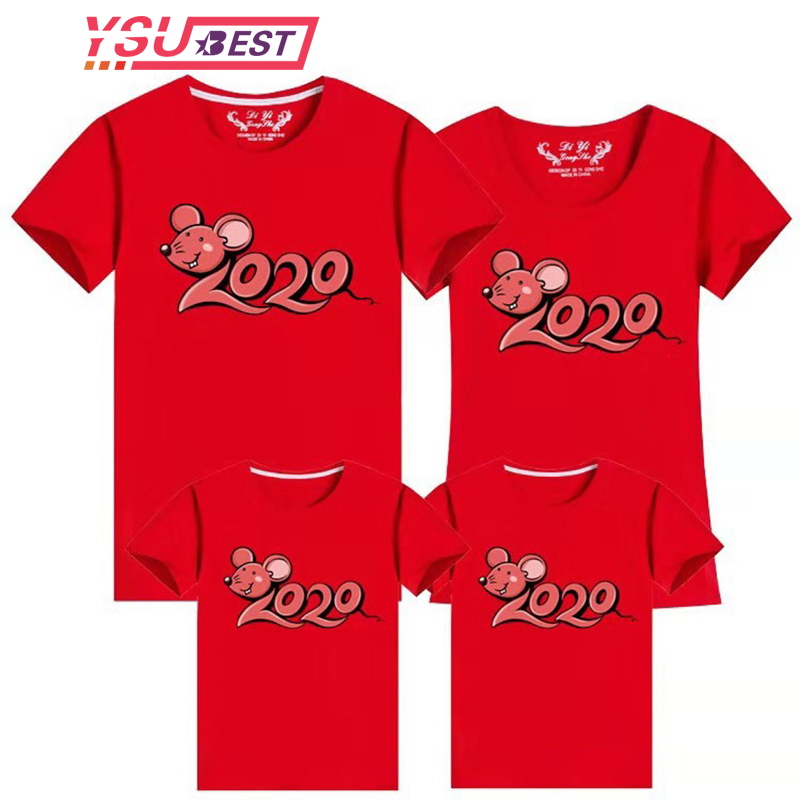 2020 Family Look New Year Mommy And Clothes T Shirt Family Matching Clothes Summer T Shirt Father Son Mother Daughter Clothes