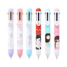 2шт многоцветный 0.5 мм шариковая ручка многофункциональный толчок телескопическая ручка многоцветный шар мультфильм студент канцелярские симпатичные кисти