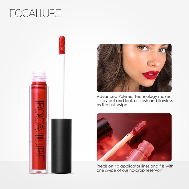 FOCALLURE Waterproof Liquid Lipstick Velvet Lip Tint Sexy Red Lip Makeup Keep 24 Hours Matte Lipstick 4