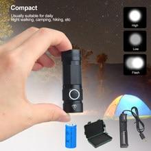 EDC – Mini lampe de poche d'extérieur étanche, Rechargeable par USB, torche Portable, 3Modes, pour randonnée, étanche, avec chargeur et boîte, 16340