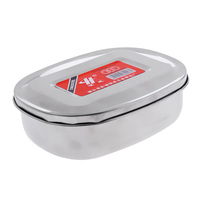 Stainless Steel Student Bento Lunch Box Oval Case Single Layer Dinnerware Food Storage Container|Picnic Bags| |  -
