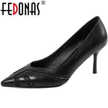 FEDONAS Rhinestone Genuine Leather Women Shoes High Heels Pumps Retro Pointed Toe Sandals Newest Spring Summer 2020 Shoes Woman