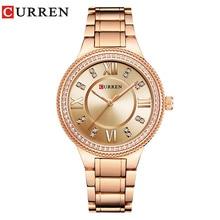 цены CURREN Brand Luxury Women's Casual Watches Waterproof Wristwatch Women Fashion Dress Rhinestone Stainless Steel Ladies Clock