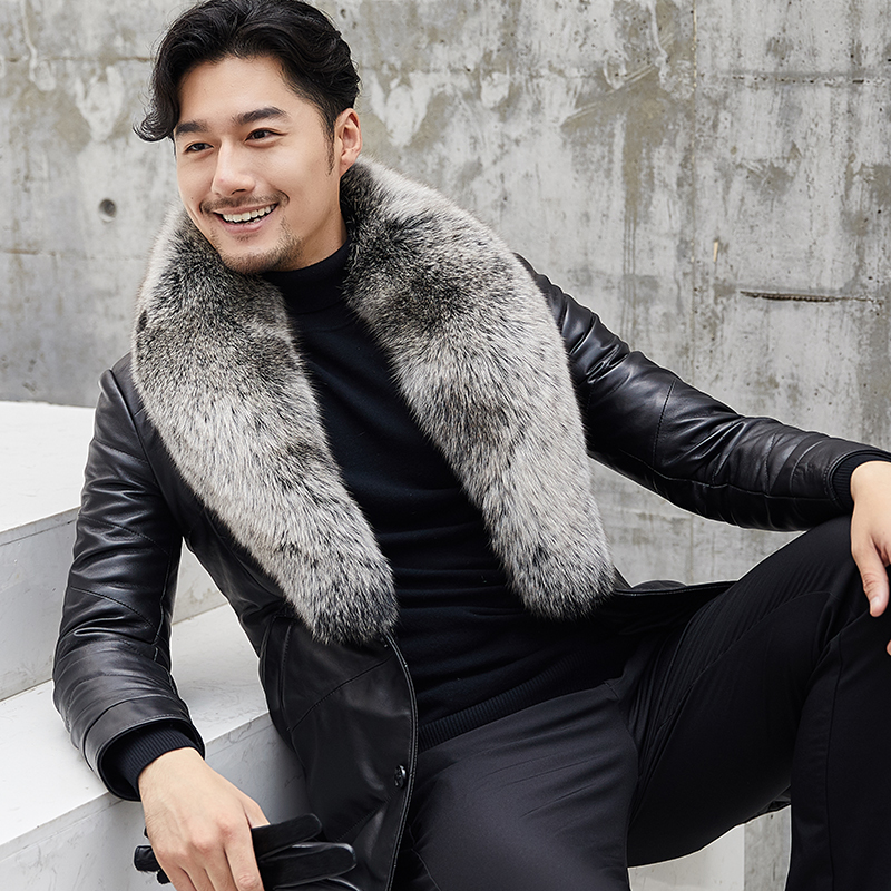 Genuine Leather Winter Jacket Fox Fur Collar Real Sheepskin Coat For Men Warm Down Jackets Plus Size Chaqueta MY1892