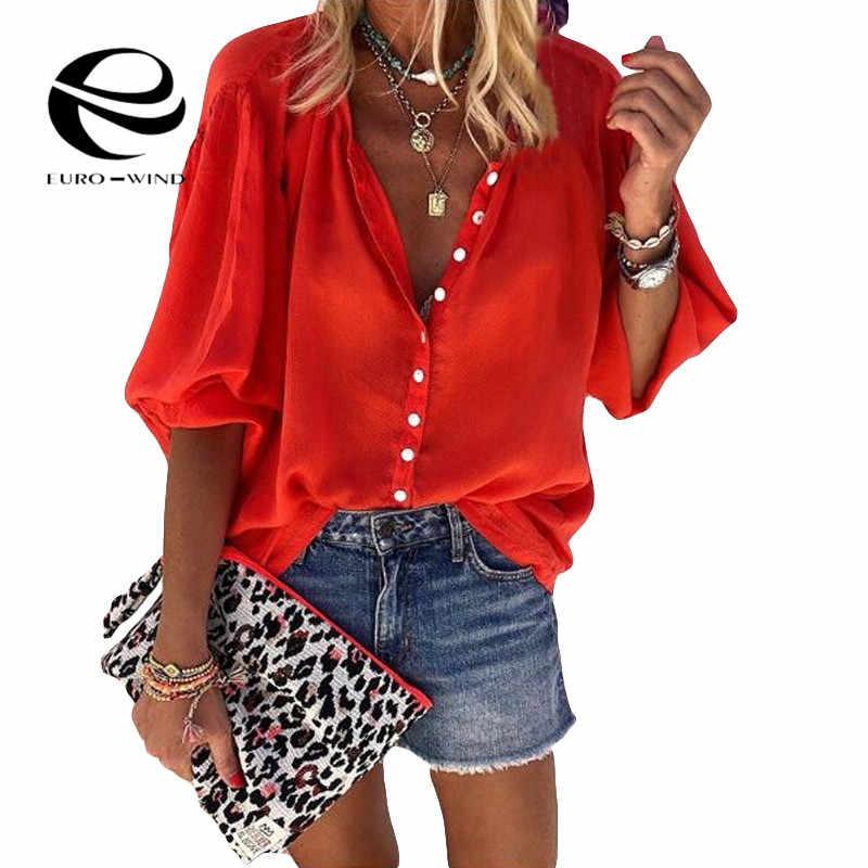 Plus ขนาด 5XL ผู้หญิงเสื้อและเสื้อ 2019 ฤดูใบไม้ร่วงใหม่แขนยาว V คอของแข็งเสื้อลำลองหญิงหลวม OL เสื้อ Tops Blusas