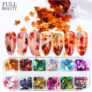12 Grids Maple Leaf Manicure Nail Design Glitter Flakes Red Yellow Multi-colored Fall Sequin Gel Polish Nail Accessory CHFY-1
