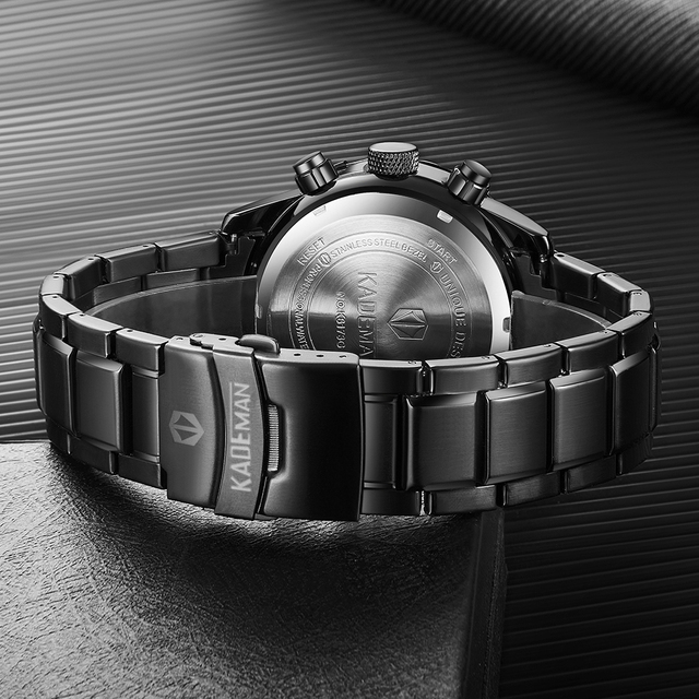 Kademan relógio de luxo dos homens display lcd relógio digital militar esportes relógios de pulso marca superior 3atm aço inoxidável relogio masculino 1