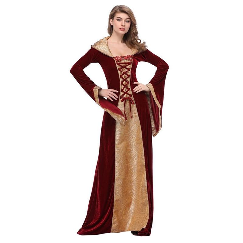 Victorian Women Halloween Costume Queen Medieval Renaissance Velvet Dress Gown