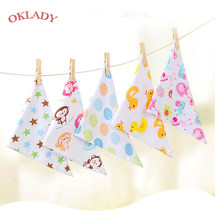Oklady Baby Bibs Triangle Double Cotton Bibs Cartoon Print Saliva Towel Baby Boys Girls Feeding Apron Cotton Bandana Bibs(China)