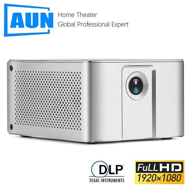جهاز عرض عالي الدقة من AUN طراز J20 ، 1920*1080P ، يعمل بنظام الأندرويد والواي فاي ، وبطارية 10000mAH ، جهاز عرض DLP محمول. دعم 4K ثلاثية الأبعاد متعاطي المخدرات