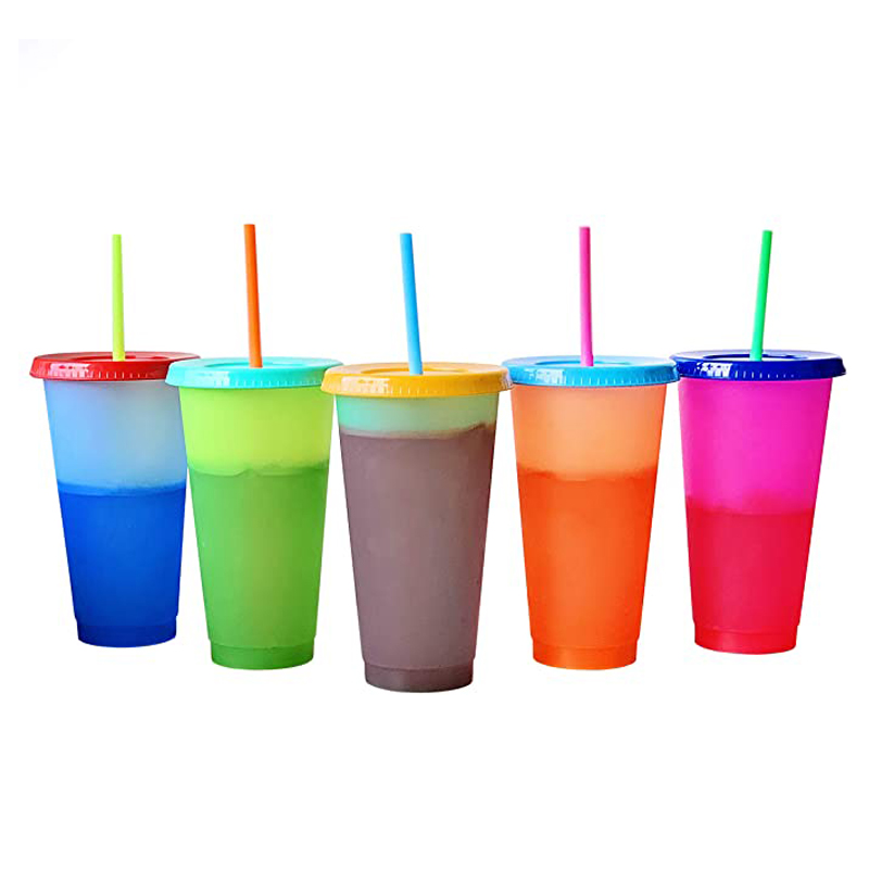 24oz Color Changing Cold <font><b>Drink</b></font> Cups with Lid and Straws Tumblers Reusable Discoloration Bottle Drinkware Plastic My <font><b>Drink</b></font> Bottle image
