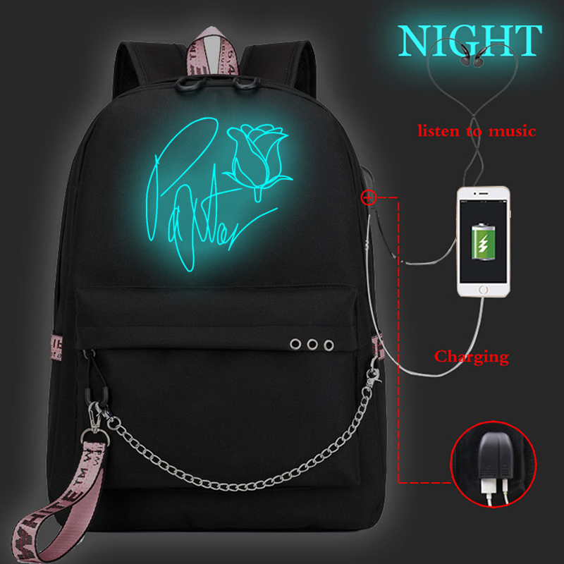 Fashion Luminous Backpack Payton Moormeier USB School Bag Korean Style Teen Women Leisure Schoolbag Payton Moormeier Mochilas