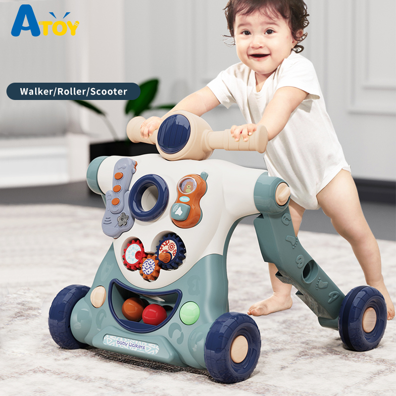 3-in-1 Baby Walker,Toys Multifuctional Baby Strollers Non-slip Toddler Trolley Sit-to-Stand ABS Musical Walker for Toddler