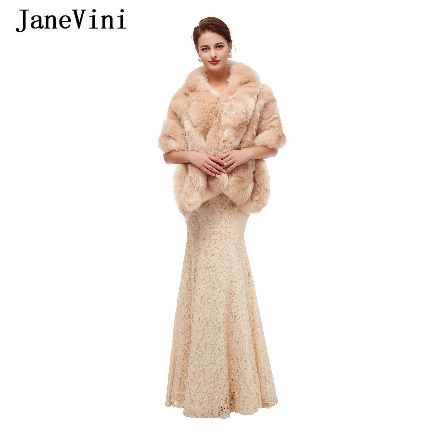 JaneVini 2020 Elegant Winter Women Shrugs Wedding Shoulder Cape Bridal Faux Fur Wrap Shawl Warm Evening Party Bolero Accessories