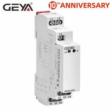 Free Shipping GEYA Elevator Relay Phase Sequence Protection Relay 1SPDT OR 2SPDT 8A 10A  Phase Relay 24 vac relay for henny penny hen60818