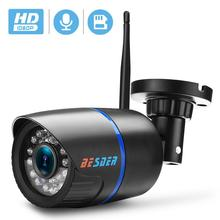 BESDER ses 1080P kablosuz Ip CCTV güvenlik kamera siyah su geçirmez Onvif gözetim kamera SD kart yuvası ile ICSee P2P IPC