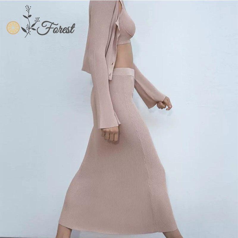Модный вязаный женский костюм oforest Повседневный Кардиган