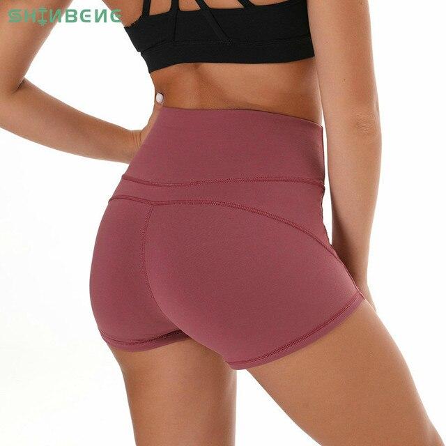 SHINBENE Morbido Nylon Fitness Jogger Shorts Delle Donne A Vita Alta Solido di Sport di Allenamento di Shorts Sottile Tummy Controllo Athletic Gym Shorts